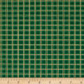 QT Fabrics Poinsettia Grandeur Metallic Plaid Green