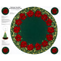 "QT Fabrics Poinsettia Grandeur Metallic Tree Skirt 35.5"" Panel Forest"