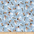 QT Fabrics Woodland Friends Snowman Toss Dusty Blue