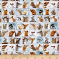 QT Fabrics Woodland Friends Animal Patch Dusty Blue