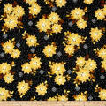 QT Fabrics A Golden Holiday Poinsettias Black