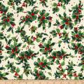 Retro Santa Tossed Holly Light Cream