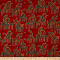 Laurel Burch Mythical Jungle Metallic Giraffes Light Red Metallic