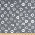 Frosty Folks Flannel Snowflake Gray