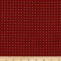 Kim Diehl Winter Cheer Flannel Sprigged Leaf Red