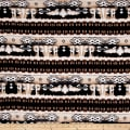 Rihan Jersey Knit Abstract Diamond Brown Pillar Beige/Ivory