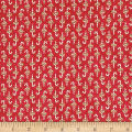 Moda Snowfall Prints Candy Cane Poinsettia