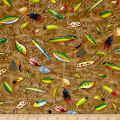 Quilting Treasures So Many Fish, So Little Time Fishing Lures Dark Tan