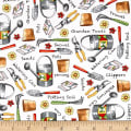 QT Fabrics Who Let The Hogs Out Garden Tools White