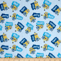 QT Fabrics Millions Of Minions Minions & Names Toss Light Blue