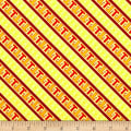 QT Fabrics Thomas the Train Steam Team Express Diagonal Stripe Yellow