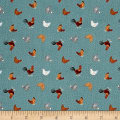 Lewis & Irene Small Things - On The Farm Hens Teal