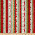 Wilmington Frosted Holiday Ticking Stripe Red