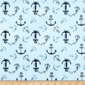 Michael Miller Minky Whales Anchors Toss Light Blue