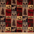 Fairbanks Cabin Patch Chenille Jacquard Red