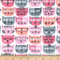 Michael Miller Minky Sassy Cats Pink