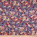 Rayon Challis Floral Paisley Navy/Fuschia/Red
