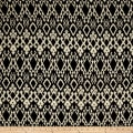 Rayon Challis Tribal Ikat Black/Cream