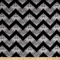 Double Brushed Jersey Knit Milana Ethnic Zig Zag Black/Gray