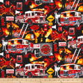 Timeless Treasures Rescue Firefighter Collage Rescue