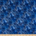 """108"""" Flannel Textured Circles Blue"""