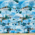 Snowy Christmas Glitter Scenic Blue