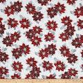 Winter Blossom Metallic Spaced Poinsettia Frost/Silver