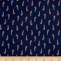 Cotton + Steel Noel Candy Canes Navy
