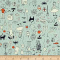 Cotton + Steel Lil' Monsters Party Mint