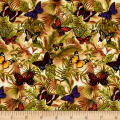 Timeless Treasures Mini's Butterflies On Leaves Multi