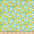 Timeless Treasures Mini's Rubber Ducks Aqua