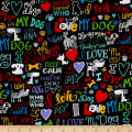 Timeless Treasures I Love My Dog Words Black