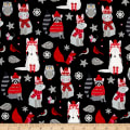Natalie Alex Snow Delightful Winter Woodland Animals Black/Red