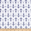 Fabric Merchants Cotton Jersey Knit Nautical Anchors White/Sky Blue