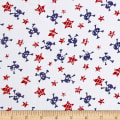 Cotton Jersey Knit Stars and Skulls Red/Navy