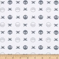 Fabric Merchants Stretch Jersey Knit Skulls, Hearts and Crossbones White/Grey
