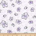 Fabric Merchants Stretch Jersey Knit Butterflies White/Purple