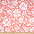 Fabric Merchants Swim Active Wear Hibiscus Hawaiian Floral Peach