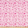 Fabric Merchants Cotton Jersey Knit Hearts White/Pink