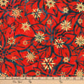 Kaufman Batiks Metallic Northwood Poinsettia Holiday