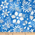 Kaufman Batiks Metallic Noel Geo Flower Winter