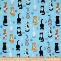 The Cat's Meow Cute Cats Blue/Turquoise