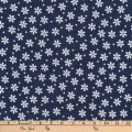 Kaufman Cozy Cotton Flannel Daisies Navy