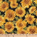 Kaufman Shades of the Season Metallic Sunflowers Black