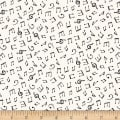Monochrome Musical Notes White