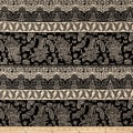 Rayon Crepe Paisley Heart Print Black/Natural
