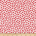 Moda Red Dot Green Dash Brushed Cottons Snow Storm Winterwhite/Red