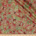 Cozy Cabin Christmas Pine Needles Metallic Red