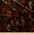 Telio Stretch Velvet Burnout Floral Black/Green/Orange/Yellow