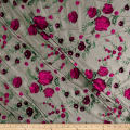 Telio Amor Embroidery Rose Lace Black/Hot Pink